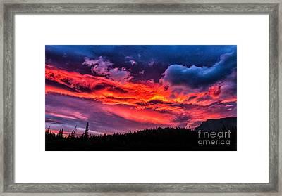 Fiery Sunrise At Glacier National Park Framed Print