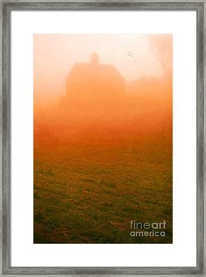 Fiery Sunrise On The Farm Framed Print by Edward Fielding