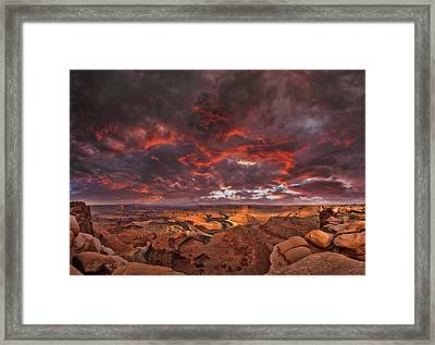 Fiery Sunrise Over Dead Horse Point State Park Framed Print