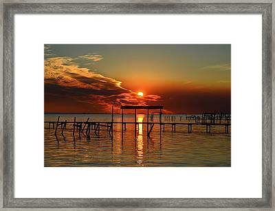 Fiery Sunset Colors Over Santa Rosa Sound Framed Print by Jeff at JSJ Photography