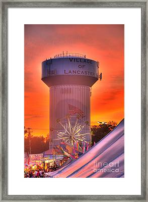 Framed Print featuring the photograph Fiery Sunset by Jim Lepard
