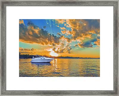 Fiery Sunset On Lake Minnetonka Framed Print