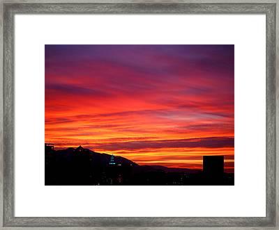 Fiery Sunset Framed Print by Rona Black