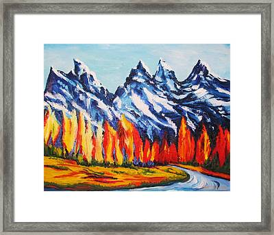 Fiery Trees Of Fall Framed Print by Sheri Marean