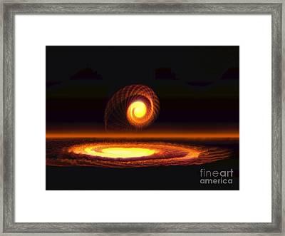 Fiery Yellow Orange Spiral Framed Print