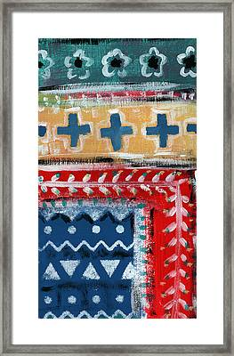 Fiesta 3- Colorful Pattern Painting Framed Print by Linda Woods