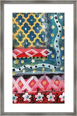 Fiesta 4- Colorful Pattern Painting Framed Print by Linda Woods