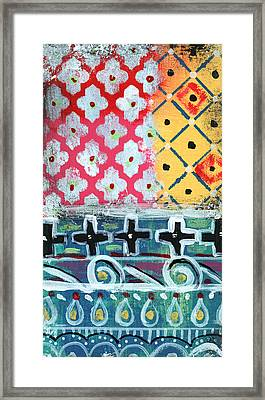 Fiesta 6- Colorful Pattern Painting Framed Print by Linda Woods