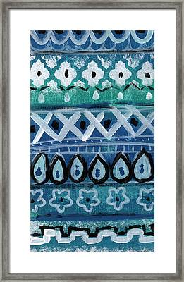 Fiesta In Blue- Colorful Pattern Painting Framed Print by Linda Woods