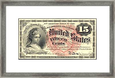Fifteen Cents 4th Issue U.s. Fractional Currency Framed Print by Lanjee Chee