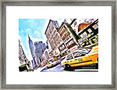 Fifth Avenue And Empire State Hdr Framed Print by Kim Lessel