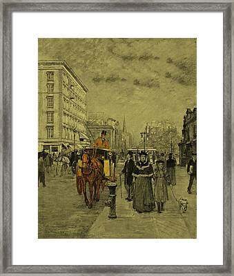 Fifth Avenue At Madison Square By Theodore Robinson 1894 Framed Print by Movie Poster Prints