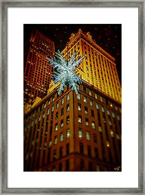 Framed Print featuring the photograph Fifth Avenue Holiday Star by Chris Lord