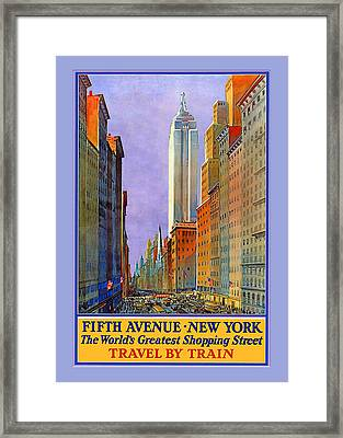 Fifth Avenue  New York Travel Poster Framed Print by Denise Beverly