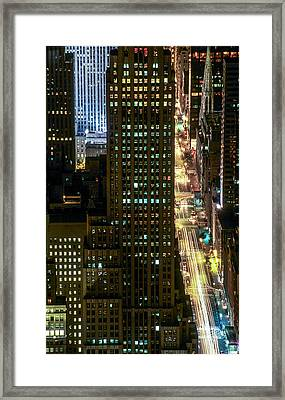 Fifth By Night With St. Patrick's Framed Print by Kim Lessel
