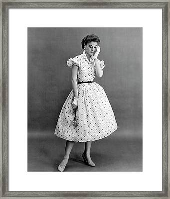 Fifties Fashion Dress Framed Print by Underwood Archives