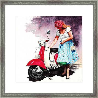Fifties Lambretta Girl Framed Print