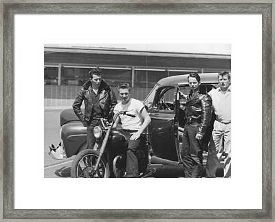 Fifties Youths Hanging Out Framed Print by Underwood Archives