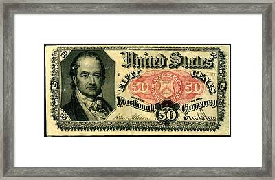 Fifty Cents 5th Issue U.s. Fractional Currency Fr 1381 Framed Print by Lanjee Chee