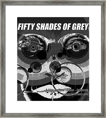Fifty Shades Of Grey Black And White Poster Style Framed Print by David Lee Thompson