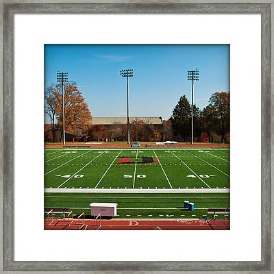 Fifty Yard Line At Richardson Stadium - Davidson College Framed Print by Paulette B Wright