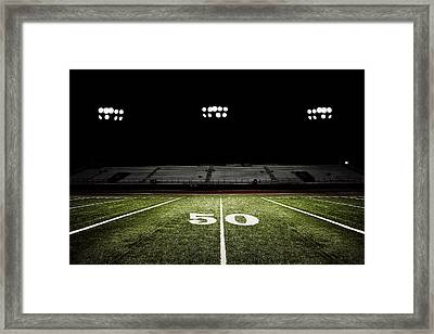 Fifty-yard Line Of Football Field At Framed Print by Jgareri