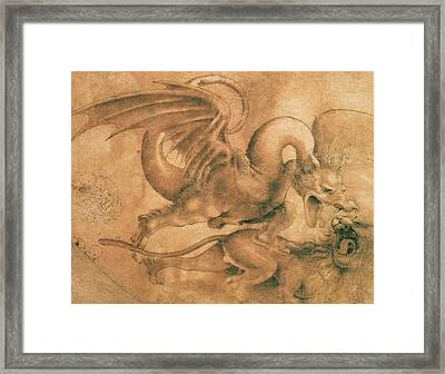 Fight Between A Dragon And A Lion Framed Print