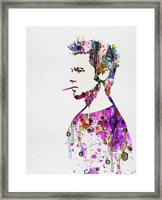 Fight Club Watercolor Framed Print by Naxart Studio