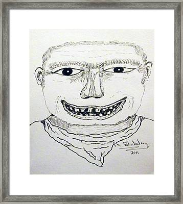 Framed Print featuring the drawing Fighter Mugshot by Martin Blakeley