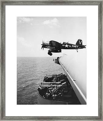 Fighter Takes Off From Carrier Framed Print