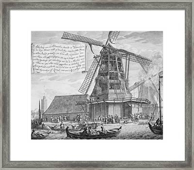 Fighting A Fire In A Windmill Framed Print by Dutch School