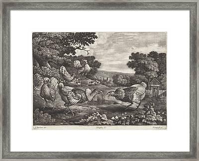 Fighting Chickens, Jan Griffier I, Pierce Tempest Framed Print by Jan Griffier (i) And Pierce Tempest