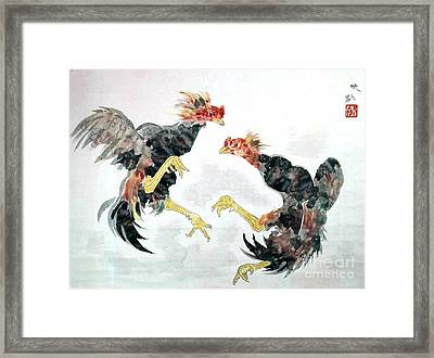 Fighting Chickens Framed Print by Pg Reproductions