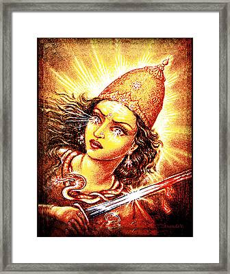 Fighting Goddess Framed Print by Ananda Vdovic