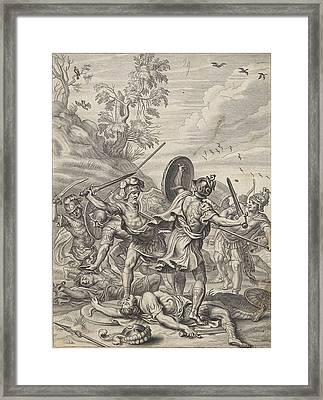 Fighting Odysseus, Anonymous, Abraham Van Diepenbeeck Framed Print