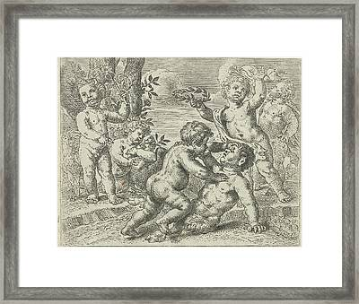 Fighting Putti, Peter Van Lint Framed Print