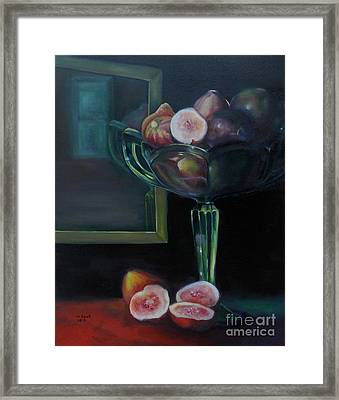Figs In Green Glass Dish Framed Print by Marlene Book