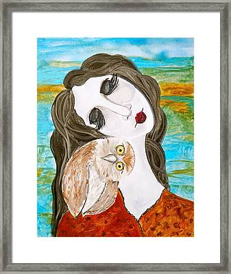 Figure And Owl Painting - Wise Beyond My Years Framed Print