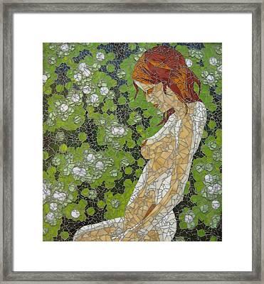 Figure In Front Of Green Spots Framed Print by Rachel Van der pol