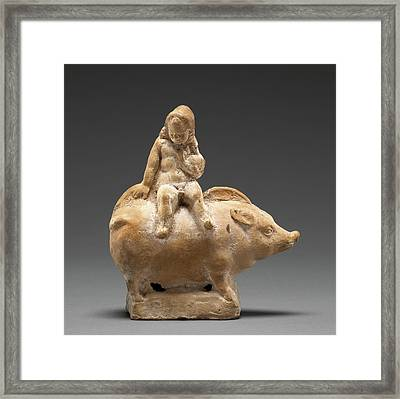Figure Of A Child Seated Atop A Pig Unknown Rhodes Framed Print