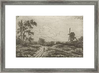 Figure On A Road At A Mill, Hendrik Jan Hein Framed Print
