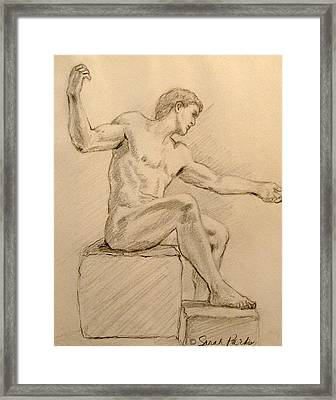 Figure On A Rock Framed Print by Sarah Parks