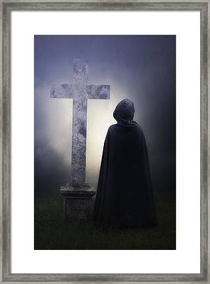 Figure On Graveyard Framed Print by Joana Kruse