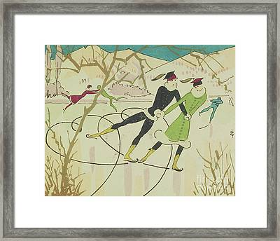 Figure Skating  Christmas Card Framed Print by American School