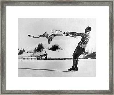 Figure Skating Merry-go-round On The Ice Framed Print by Underwood Archives