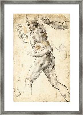 Figure Study Of A Running Man Framed Print by Michelangelo Buonarroti