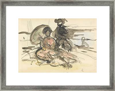 Figure Study Two Women Seated Framed Print