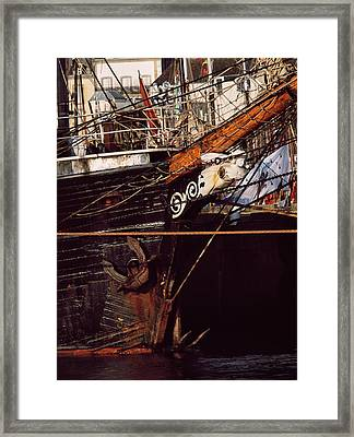 Figurehead On Tall Ship In Douarnenez Framed Print by Panoramic Images