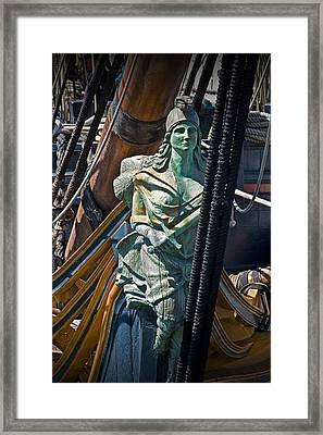 Figurehead On The Bow Of The Sailing Ship The Star Of India Framed Print