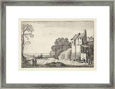 Figures At A House And Covered Wagons On A Country Road Framed Print by Artokoloro